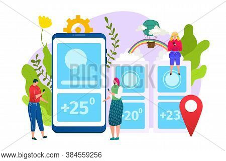 Weather App Design, Forecast Web Widgets Application Template, Vector Illustration. Mobile Interface