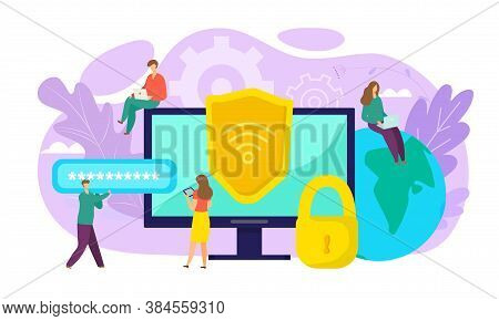 Wifi Security Concept, Online Safety, Data Protection, Secure Connection Vector Illustration. Crypto
