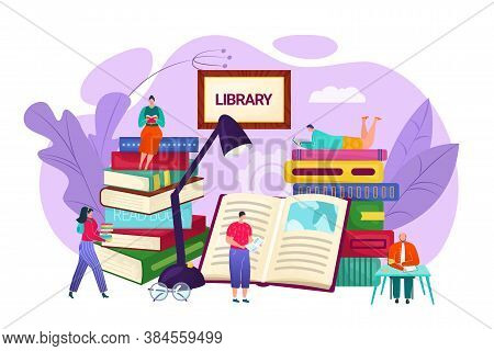 Library And Knowledge Concept, Vector Flat Illustration. Tiny People Sitting On Bookshelves Reading