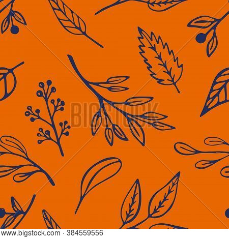 Autumn Leaf Seamless Pattern In Trendy 2020 Colors. Orange Vegetal Organic Background Design With In