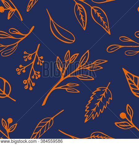 Autumn Leaf Seamless Pattern In Trendy 2020 Colors. Indigo Blue Vegetal Organic Background Design Wi