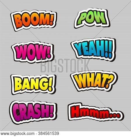 Comic Book Titles And Words Set. Emotions In Pop Art Style. Cartoons Boom, Bang, Wow, Crash, Yeah, P