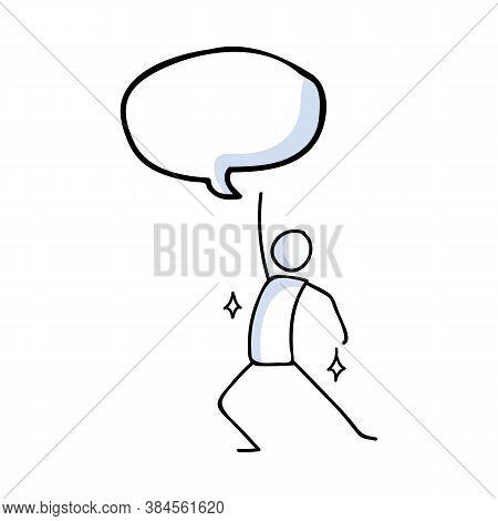 Hand Drawn Stickman Disco Dancer Concept. Simple Outline Ballerina Figure Doodle Icon Clipart. For D