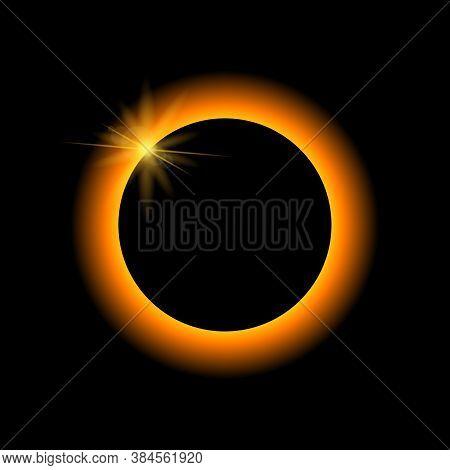 Solar Eclipse Vector. Lunar Eclipse On Dark Background.