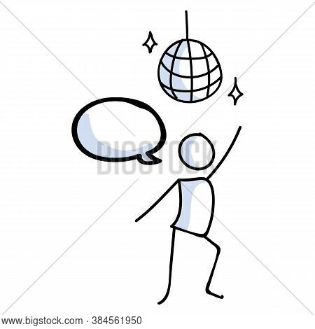 Hand Drawn Stickman 70s Disco Dancer With Ball Concept. Simple Outline Ballerina Figure Doodle Icon