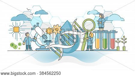 Biotechnology Or Biotech Dna Research As Genetic Science Outline Concept. Biology And Chemistry Expe
