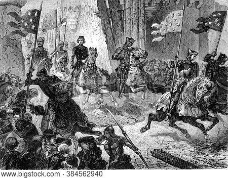 Return of Charles VI to Paris, Vintage engraving. From Popular France, 1869.