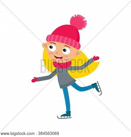Cartoon Teenaged Girl With Winter Skates, Vector Illustration