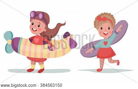 Little Girls In Pilot Costume Playing With Plane Vector Illustration Set