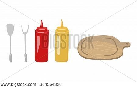 Barbecue Foodstuff And Utensils For Grilling Vector Set