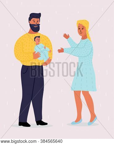 Young Caucasian Couple With Newborn. Father With Beard Holds A Kid On His Hands. Blonde Mom Holds Ou