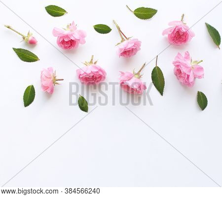 Floral Pattern Made Of Pink Roses On White Background. Flat Lay, Top View. Valentines Background. Fl
