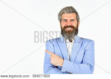 Businessman Lifestyle. Business Reputation. Formal Style. Handsome Businessman. Serious Bearded Man.