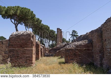 Rome, Italy - June 29, 2010: Remnants Of The Flavian Palace, In The Palatine Hill Area, Stand Among