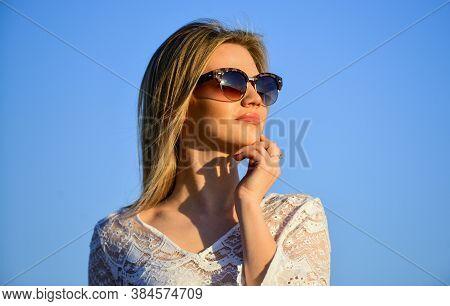 Sunny Day. Girl Blue Sky Background. Female Health. Emotional Girl. Happy. Carefree Girl. Pretty Wom