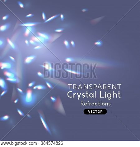 Crystal Light Effect Reflections And Refractions. Overlay Pattern For Backgrounds. Vector Illustrati