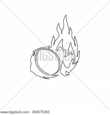 Single Continuous Line Drawing Of Whole Healthy Organic Dragon Fruit For Orchard Logo Identity. Fres