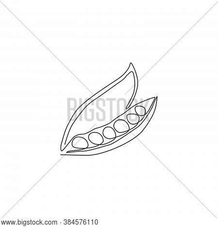 One Single Line Drawing Whole Healthy Organic Green Pea For Farm Logo Identity. Fresh  Small Spheric