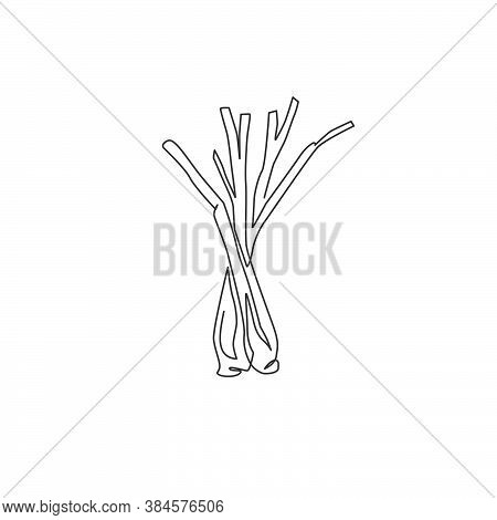 Single Continuous Line Drawing Of Whole Healthy Organic Lemongrass For Farm Logo Identity. Fresh Cym