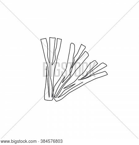 Single Continuous Line Drawing Of Whole Bunch Healthy Organic Leek For Farm Logo Identity. Fresh Foo