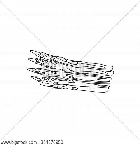 One Single Line Drawing Of Whole Healthy Organic Asparagus For Farm Logo Identity. Fresh Garden Aspa