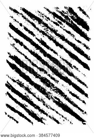 Retro Grunge Texture Concept In Monochrome Style With Slanted Brush Strokes Vector Illustration