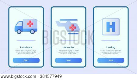 Medical Icon Ambulance Helicopter Landing For Mobile Apps Template Banner Page Ui With Three Variati