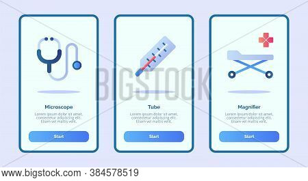 Medical Icon With Stethoscope Thermometer And Bed For Mobile Apps Template Banner Page Ui With Three
