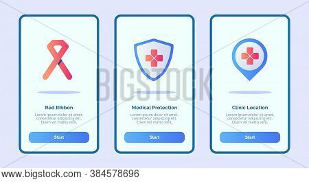Medical Icon Red Ribbon Medical Protection Clinic Location For Mobile Apps Template Banner Page Ui W