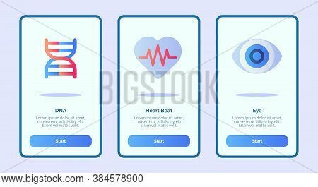 Medical Icon Dna Heart Beat Eye For Mobile Apps Template Banner Page Ui With Three Variations Modern