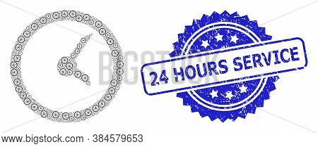 24 Hours Service Corroded Stamp Seal And Vector Recursive Composition Clock. Blue Stamp Seal Contain