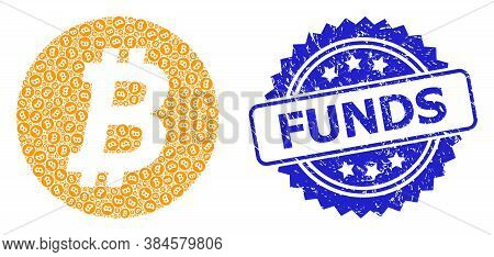 Funds Scratched Seal Imitation And Vector Fractal Collage Bitcoin Coin. Blue Stamp Seal Contains Fun
