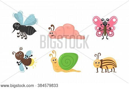 Cute Cartoon Bug Worm Funny Doodle Character In Flat Design. Set Of Kawaii Insect Isolated On White