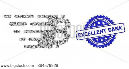 Excellent Bank Grunge Seal Print And Vector Fractal Collage Bitcoin Symbol. Blue Seal Includes Excel