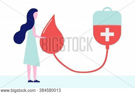 Donate Blood Concept With Woman, Blood Bag And A Drop Of Blood In A Flat Style