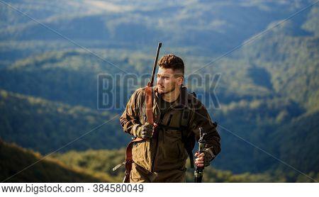 Hunt Hunting Rifle. Hunter Man. Hunting Period. Male With A Gun. Hunter With Hunting Gun And Hunting