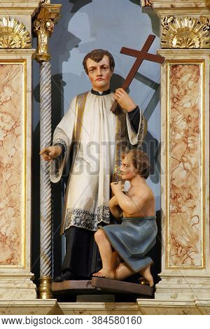 DONJA STUBICA, CROATIA - APRIL 13, 2015: Saint Francis Xavier, statue on the main altar in the parish church of the Holy Trinity in Donja Stubica, Croatia