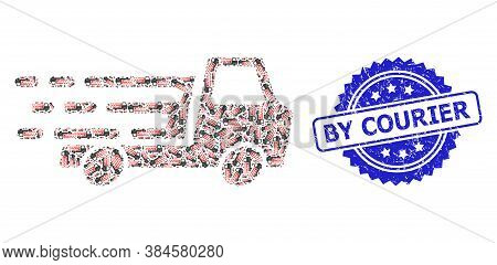 By Courier Scratched Stamp And Vector Recursive Mosaic Delivery Car Chassi. Blue Stamp Seal Has By C