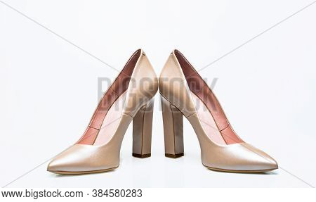 White High Heel Women Shoes On White Background. Stylish Classic Women Leather Shoe. White Shoe For