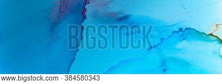 Abstract Teal Wallpaper. Watercolour Landscape. Blue Aqua Art Texture. Sophisticated Wave Paint. Abs