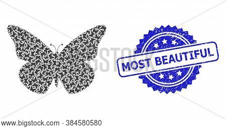 Most Beautiful Corroded Stamp Seal And Vector Recursive Collage Butterfly. Blue Stamp Seal Contains
