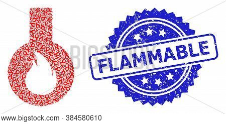 Flammable Textured Seal Imitation And Vector Recursive Collage Flammable Flask. Blue Seal Contains F