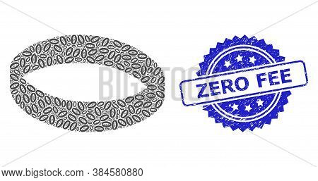 Zero Fee Unclean Stamp Seal And Vector Recursive Composition Gold Ring. Blue Stamp Seal Has Zero Fee