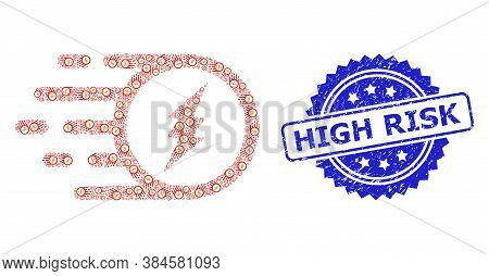 High Risk Rubber Seal And Vector Recursive Collage Electric Charge. Blue Stamp Seal Contains High Ri