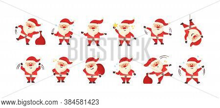 Collection Of Christmas Santa Claus. Set Of Funny Cartoon Characters With Different Emotions And New
