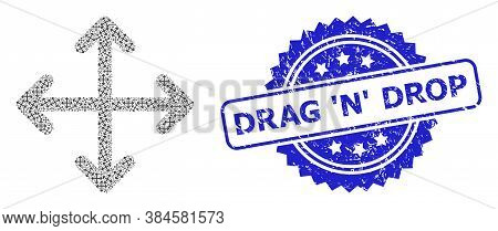 Drag N Drop Textured Seal Imitation And Vector Recursion Collage Expand Arrows. Blue Stamp Seal Incl