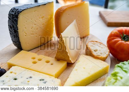 Cheese Collection, French Fol Epi Cheese With Many Little Holes, Etorki, Tomme Noire Des Pyrenees An