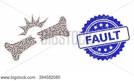 Fault Scratched Stamp Seal And Vector Recursion Mosaic Bone Fracture. Blue Stamp Seal Contains Fault