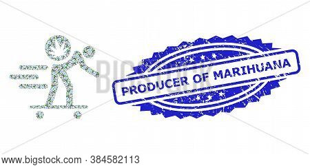 Producer Of Marihuana Textured Stamp Seal And Vector Fractal Mosaic Express Cannabis Courier. Blue S