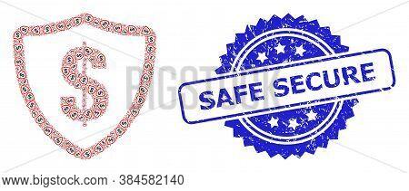 Safe Secure Grunge Seal Print And Vector Recursive Composition Dollar Protection. Blue Stamp Seal Co